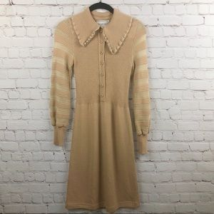 Vintage 70s Long Sleeve Wide Lapel Collar Dress